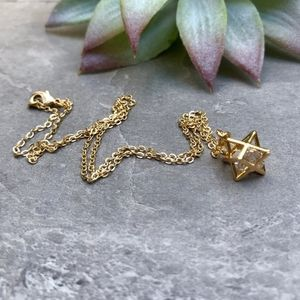 Geometric Star 22K Gold Crystal Necklace